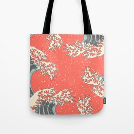 Wavy II - Living Coral Tote Bag