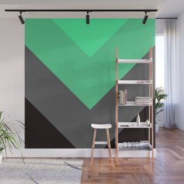 Mint Green Gray Chevron Stripes Wall Mural