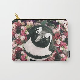 Cute Floral Penguin Flower Carry-All Pouch