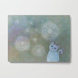 Dandelion Cat Metal Print