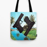 guns Tote Bags featuring guns by Hoeroine