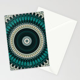 Mandala Fractal in Teal Study 01 Stationery Cards