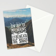 on top of mountain and beneath the stars Stationery Cards