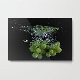 Grapes Thrown in Water Metal Print