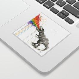 T-Rex Dinosaur Rainbow Puke Taste the Rainbow Watercolor Sticker