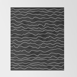 Black with White Squiggly Lines Throw Blanket