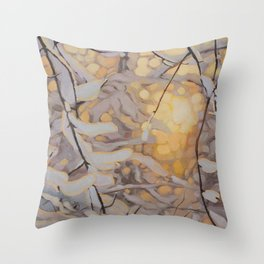 Snowy sunset landscape oil painting Throw Pillow