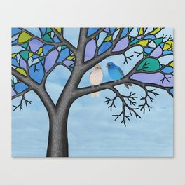 indigo buntings in the stained glass tree Canvas Print