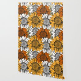 Beautiful pattern from hand drawn sunflowers Wallpaper