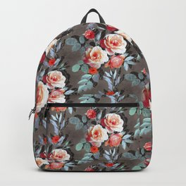 Retro Rose Chintz in Scarlet, Peach, Sage and Grey Backpack
