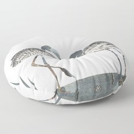 Flamingos in Silvery Blue Floor Pillow