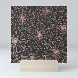 Girly gray blush pink rose gold floral Mini Art Print