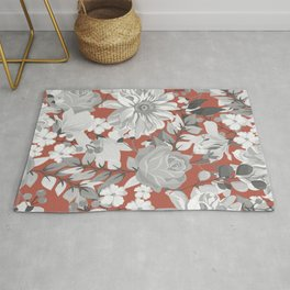 Abstract Watercolor Gray White Rosy Peach Floral Rug