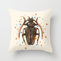 insect Throw Pillows featuring INSECT VIII by dogooder