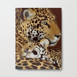 Jaguar mother and cub Metal Print
