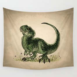"""""""Baby T-Rex"""" by Amber Marine ~ watercolor and ink, (Copyright 2013) Wall Tapestry"""