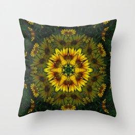 Large Yellow Wildflower Kaleidoscope Art 6 Throw Pillow