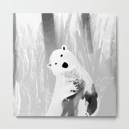 Unique Black and White Polar Bear Design Metal Print