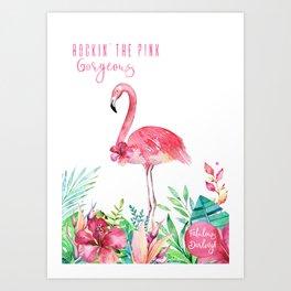 Fabulous Flamingo - Rockin' The Pink Art Print