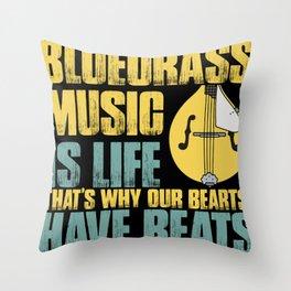 Mandolin musician saying strings Throw Pillow