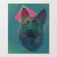 german shepherd Canvas Prints featuring German Shepherd by MOSAICOArteDigital