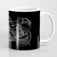 cafe racer Mugs featuring NORTON COMMANDO 961 CAFE RACER. 2011 by Larsson Stevensem
