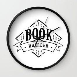 Book Hoarder Black Wall Clock
