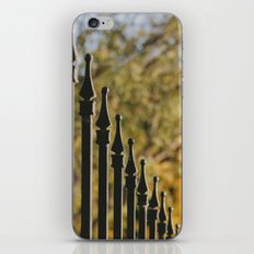 iron fence, yellow leaves iPhone & iPod Skin