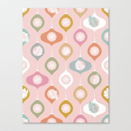 Retro Christmas Baubles Pattern on Pastel Pink Canvas Print