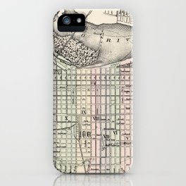 Vintage Map of Louisville Kentucky (1884) iPhone Case