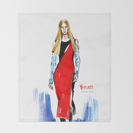 Fashion #14. Long-haired girl in fashionable red dress-transformer Throw Blanket