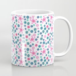 Floral Pattern in Pink, Blue, Teal and Mint Coffee Mug