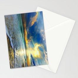 Blue Seascape Art Print Gold Sunrays Sunset Stationery Cards