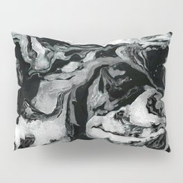 Black and white Marble texture acrylic paint art Pillow Sham