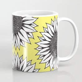 Yellow Sunflower in Black and White Hand Drawing Coffee Mug