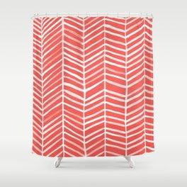 Coral Herringbone Shower Curtain