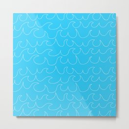 Simple white handrawn waves on aqua - for your summer on #Society6 Metal Print