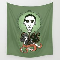 lovecraft Wall Tapestries featuring Lovecraft Holy Writer by roberto lanznaster