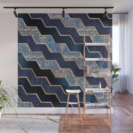 Moody blues geometric textures Wall Mural