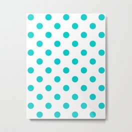 Polka Dots - Cyan on White Metal Print