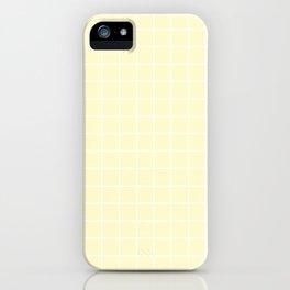 Lemon chiffon - pink color - White Lines Grid Pattern iPhone Case