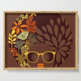 Afro Diva : Sophisticated Lady Retro Brown Serving Tray