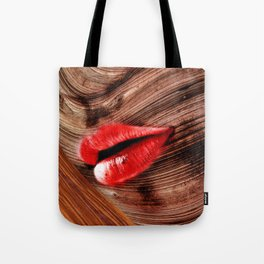Red lips Wooden Face Tote Bag