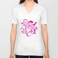 smoking V-neck T-shirts featuring smoking by Bagnit