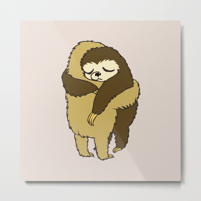 Sloth Hugs Metal Print