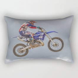 Action motocross biker in blue and red Rectangular Pillow