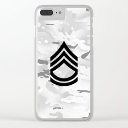 Sergeant First Class (Winter Camo) Clear iPhone Case