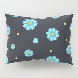Abstract elegance and cute pattern with blue flowers and dark gray background. Pillow Sham