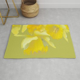 Sign of Spring - Yellow Narcissus on Spring Green Background #decor #society6 #buyart Rug