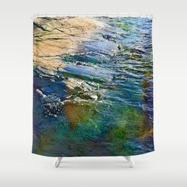 Colored sea waves licking the rock Shower Curtain
